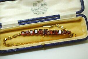 Antique Victorian Gold 15ct-18ct Faceted Garnet Links Bracelet with antique box