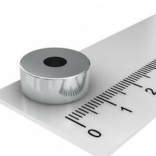 50x NEODYM POWER RINGMAGNET 15x6mm mit 5mm BOHRUNG VERNICKELT N45  MAGNETRINGE