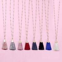 8 Colors Vintage Long Tassel Necklace Women Long Chain Fringe Sweater Pendant