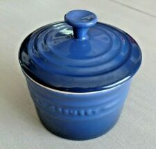 "Le Creuset Small 3"" Blue Lidded Ceramic Spice Canister w/Rubber Seal"