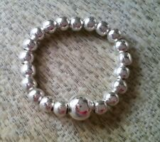 Simple Silver Ball Beaded Stretch Ring free P&P