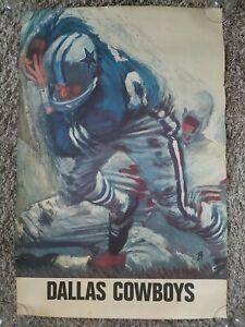 "VINTAGE NFL FOOTBALL DALLAS COWBOYS POSTER DAVID BOSS 1960'S ORIGINAL 24"" X 36"""