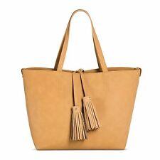 NWT Merona Large Tan Faux Leather Tote Bag - 4 Piece Set