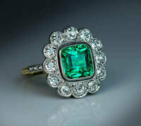 3 Ct Cushion Emerald Vintage Art Deco Cluster Engagement Ring 14K Yellow Gold Fn