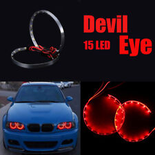 2x 15LED Devil Eyes Angle Eyes Design Red Light Headlight Projector Ring Lamp