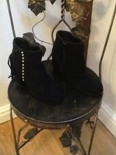 New Look black suede fringed ankle boots UK 3