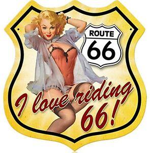 I Love Reiten Route 66 Gestanzt Stahl Schild 380mm x 380mm (Pst)