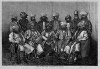 GROUP OF AFGHAN CHIEFS 1878 ANTIQUE ENGRAVING AFGHAN HISTORY
