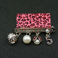 Ladybird Pearl Charm Brooch Pin Betsey Johnson Red Enamel Crystal Beautiful