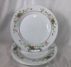 """4 ARCOPAL White Glass """"Victoria"""" Dinner Plates, Pink Blue Flowers Spring pretty"""