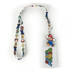 Official Nintendo SUPER MARIO & LUIGI LANYARD 1 Up Power Mushroom Keychain COOL