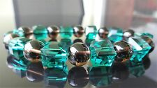 Smoky Quartz Emerald Green Faceted Cube Crystal Bracelet Men Stretch 10mm 7.75""