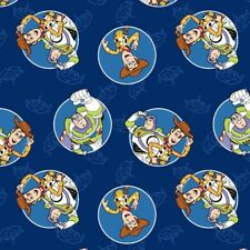 1/2 Meter Disney Toy Story Buzz Woody Badges Toss Cotton Fabric Pixar Film
