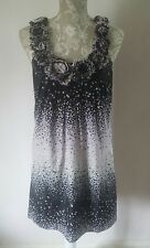 Ted Baker Black Silk Mix Dress with Spots & Ruffle Party Dress Size 1 UK 8