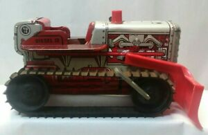 1950s Marx Climbing Sparkling Tractor Bulldozer • Vintage Wind Up Tin Toy