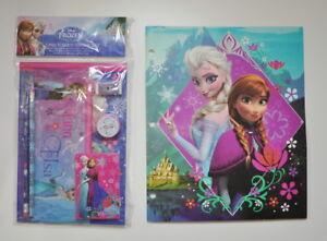 Disney Frozen 7pc Sketchbook Set Portfolio Folder School Supplies Anna Elsa