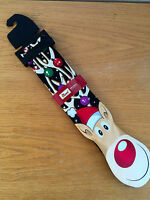 Noel Holiday Collection Mens Necktie Rudolph  Xmas Balls on Antlers  Whimsey New