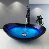 US Bathroom Tempered Glass Vessel Sink Faucet Basin Mix Oil Rubbed Bronze Taps