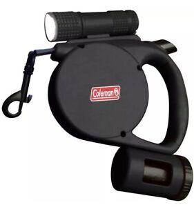 Coleman 3 In 1 Retractable Leash- Black Flashlight, Waste Bag Storage + Bags