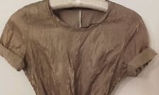 Topshop Boutique Ladies Gorgeous Gold Crinkle Self Tie Dress Size 12 -