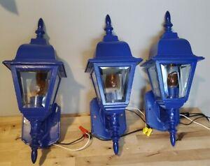 "Set of 3 Blue Sconce Outdoor / Porch Cast Beveled Glass Coach Light Torch 17"""