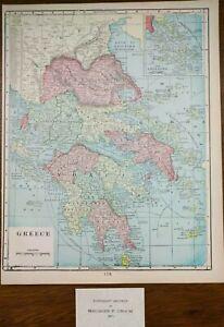 "Vintage 1902 GREECE Map 11""x14"" Old Antique Original ATHENS HERAKLION ZANTE"