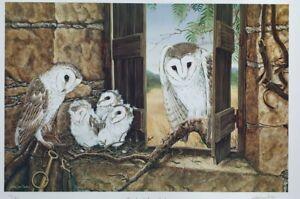 Natalie Jane Parker, Hand Signed,  Ltd edition Print. 'Family of Barn Owls'