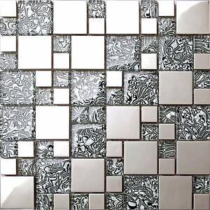 Glas und Edelstahl Mosaik Fliesen Matte in Schwarz und Silber (MT0132)
