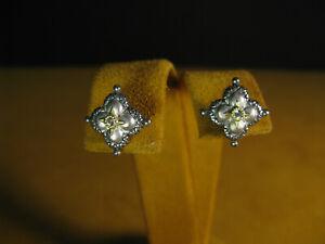 BARBARA BIXBY LOTUS FLOWER TOPAZ STUD EARRINGS SS 18K GOLD Gift Designer