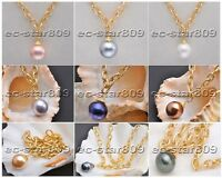 """D0218 17"""" 20mm Round South Sea Shell Pearl Chain Pendant"""
