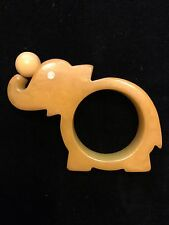 Vintage Bakelite Napkin Ring Holder Elephant Balancing Ball Butterscotch 1930s