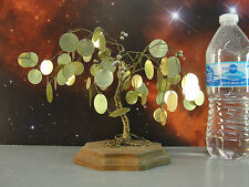 COPPER WIRE ART MID CENTURY MODERN TREE SCULPTURE GOLD FOIL LEAVES WOOD BASE VTG