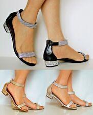 Ladies Party Sparkly Diamante Ankle Straps Low Flat Heel Shoes Sandal Size