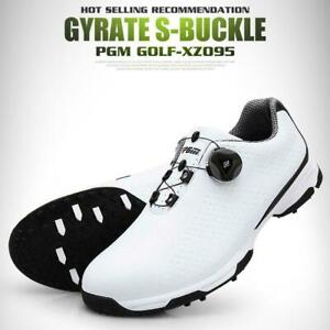 Mens Golf Shoes Waterproof Leather Spikes Non- Slip Sneaker 39-45 Size S8C1