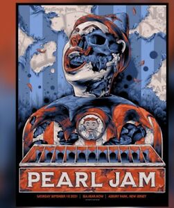 Pearl Jam Poster Asbury Park NJ Sea Hear Now Festival Ken Taylor #'D AP XXX/100