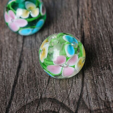 Plum Inside Flower Round Ball Loose Glass Beads Finding DIY Jewelry Making 14MM