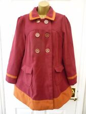 NEW LOOK Ladies Size 12 Burgundy Pink Red Colour Block Military Pea Coat Jacket