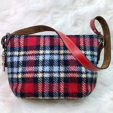 Coach Wool Tartan Demi Bag Nutmeg Suede And Red Leather Trim, Silver Buckles