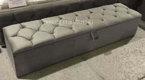 Plush Velvet King Size Ottoman Box Storage Bed Blanket Box all Colours