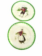 "Pair 9-In Vintage ALFRED MEAKIN ""COSTUMES OF FRANCE"" PLATES, Brittany, Burgundy"