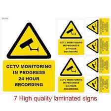 Set of 7 CCTV Laminated Vinyl Stickers  Security, Camera, Warning, Weatherproof