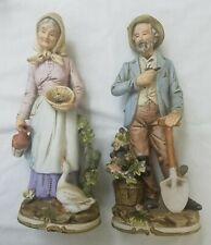 "Vintage Homco Figurines Farm Couple Man & Woman #8816 14"" Tall"