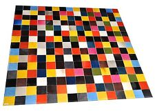 Patchwork Teppich aus buntem Kuhfell - 150 cm x 150 cm