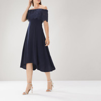 New Coast Oriel Lace Bardot Dress Navy Flattering Party Evening Dress RRP £119
