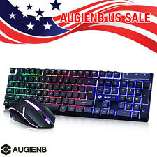 Gaming Keyboard Mouse Set Rainbow LED Wired USB For PC Laptop PS4 For Xbox NEW