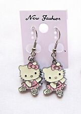 Hello Kitty Earrings Pink Ballerina Enamel Charms Dangle Style Gift Box New