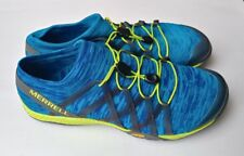 Merrell Mens Trail Glove 4 Knit running Shoes Sneakers blue & neon yellow size 9
