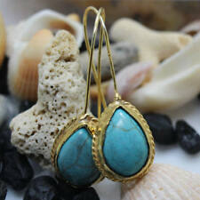 Natural Drop Turquoise Handmade Earring 925K Sterling Silver Turkish Jewelry