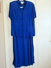 Vintage 1980's Ksl Royal Blue Two Piece Dress Size 18W