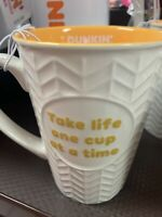 "2020 Orange Dunkin' Donuts Ceramic Mug Cup, Coffee/Tea ""Take Life One Cup"" RARE!"